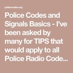 police radio codes and signals