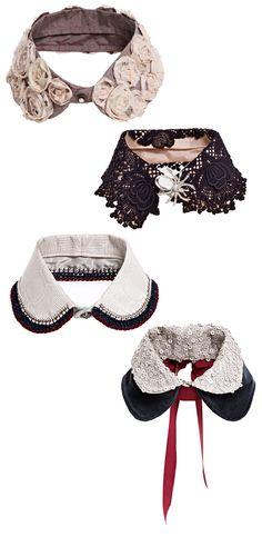 Make your own detachable collar. Cut off a collar from an old blouse or shirt and add your own ideas.