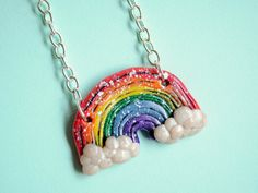 Rainbow Necklace Polymer Clay by PumpkinPyeBoutique on Etsy, $17.00