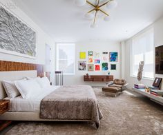 An Art-Filled NYC Duplex by Steven Harris and Lucien Rees Roberts | A custom silk rug softens the master bedroom. #design #interiordesign #interiordesignmagazine #projects #apartments