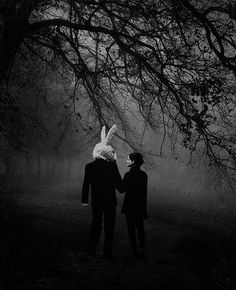 Even if you can't see his face, and the promise of love is only one you can hold in your mind... Hold it. Don't let go. Don't ever let go. Creepy Pictures, Rabbit Head, Rabbit Tale, Bunny Rabbit, Bunny Man, Bunny Suit, Love Is Scary Quotes, Donnie Darko Quotes, Scary Photography