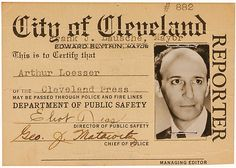 Eliot Ness signed Cleveland police reporter ID Card, Starting Bid:$3750