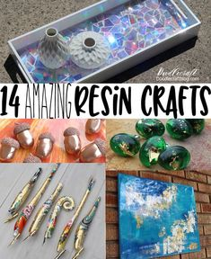 Have you tried playing with resin before? I love resin and have used it for fourteen amazing projects. I've used resin epoxy clay, resin high gloss finish and casting resin. Check out these fun projects and tell me which one is your favorite!DIY project u Diy Resin Art, Epoxy Resin Art, Diy Epoxy, Diy Resin Crafts, Diy Crafts To Sell, Diy Crafts For Kids, Fun Crafts, Arts And Crafts, Resin Molds