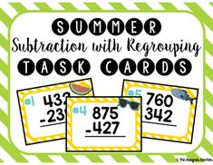 This product includes 24 task cards with 3-digit subtraction problems with regrouping. The cards have a clear font, making them easy-to-read for all students. A recording sheet and answer key are also included. Perfect for reviewing regrouping for test season!