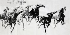 Chinese Ink Painting of Horse. Japanese Painting, Chinese Painting, Chinese Art, Chinese Brush, Paintings Famous, Animal Paintings, Art Paintings, Tinta China, Black And White Painting