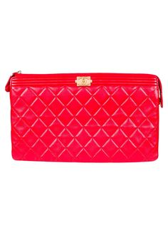 Red Chanel Quilted Clutch  - Chanel