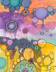 Strangeness and Charm by CAMartin. Watercolor, colorful, circles, ink, cellular, white space, pattern