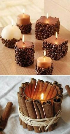 70 Fall Centerpieces DIY ideas for Fall home decoration - Hike n Dip <br> Infuse gorgeous fall colors in your decor with Autumn centerpieces. Here are the best Fall centerpieces DIY Ideas using Pumpkin, Wheat shaft, Pinecones etc. Homemade Candles, Diy Candles, Scented Candles, Candle Wax, Homemade Candle Holders, Fall Candles, Votive Holder, Home Crafts, Diy And Crafts