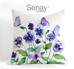 Watercolour Throw Pillow Purple Pansies and Butterflies Pillow