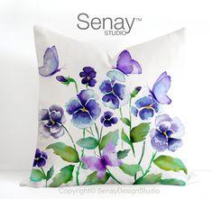 Cushion cover 18x18 Purple Pansies Butterflies by SenayStudio