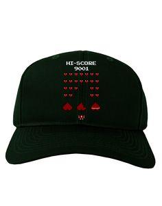TooLoud Pixel Heart Invaders Design Adult Dark Baseball Cap Hat