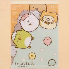 yellow and blue Sumikkogurashi shy animals bath day note pad con pegatinas 1
