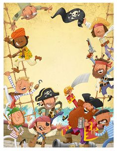 A funny poem from the funeverse. When Redbeard Fell over the Railing by Rebecca Colby. Image by Mike Brownlow. A funny pirate poem Preschool Pirate Theme, Pirate Activities, Activities For Kids, Pirate Illustration, Pirate Treasure Maps, Funny Poems, Party Fiesta, Pirate Life, Pirate Birthday
