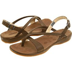 Keen sandals.  I just got a pair of these and they are surprisingly comfortable and supportive!