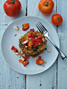 sweetsugarbean: Zucchini Fritters with Fresh Tomato and Feta Salsa