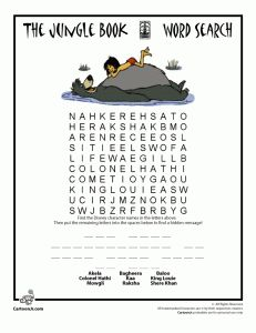 Jungle Book Word Search And Coloring Pages Classic Disney Printables