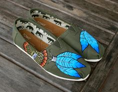 Blue Native American Dream Catcher on Olive Classic TOMS