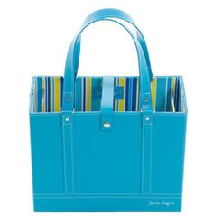 """Brand New Jamie Raquel  File Tote -  $64 Aqua; also in Hot Pink & Lime. Interior includes 3 pockets for your phone, pens, business cards, and more. Holds standard, letter-size hanging files (5 included). •Outer fabric: PVC. Lining fabric: Cotton/poly blend •2 six-inch file rods embedded in tote •11.5""""h x 14""""w x 6.5""""d  Metal Feet on Bottom"""