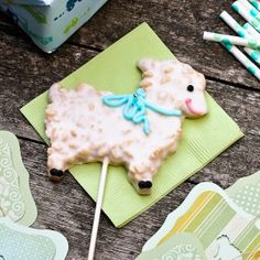 Cute little lamb sugar cookie on a stick from aspicyperspective.com