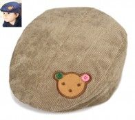 Light Brown Corduroy Cap for Children with Bunny Face Patch