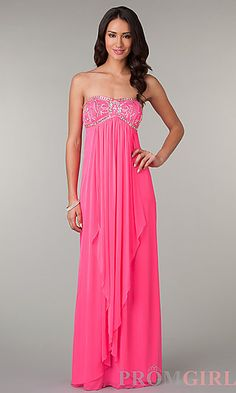 Long Strapless Neon Pink Prom Dress by LA Glo at PromGirl.com