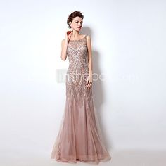 Formal Evening Dress Trumpet / Mermaid Bateau Floor-length Tulle with Beading - USD $249.99 ! HOT Product! A hot product at an incredible low price is now on sale! Come check it out along with other items like this. Get great discounts, earn Rewards and much more each time you shop with us!