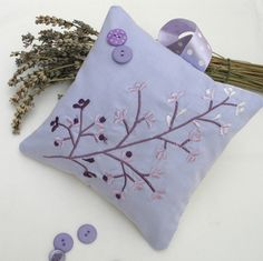 Lavender Pillow Embroidered Fabric 6 inches x 6 inches £7.95
