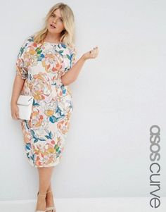 ASOS CURVE Wiggle Dress In Bright Floral Print