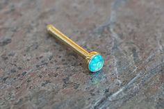 2mm Teal Opal Gold Nose Bone Gold Nose Stud Nose Ring