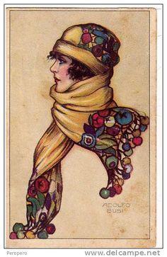 CARTOLINA ADOLFO BUSI Una giovane ragazza con una sciarpa e cappuccio Nr.130-2.CARTOLINA