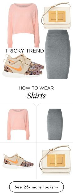 """Tricky Trend: Pencil Skirts and Sneakers"" by fiirework on Polyvore featuring Tom Ford, Alexander McQueen, Glamorous and NIKE"