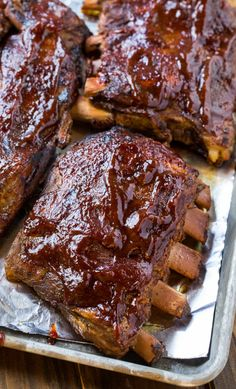 Crock Pot Ribs - Ribs cooked in the crock pot are so tender, delicious, and easy to make. A quick broil at the end makes them super flavorful!
