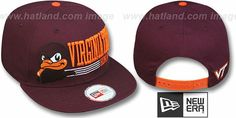 Virginia Tech 'RETRO-SNAPBACK' Burgundy Hat by New Era : may be pictured without stickers that these products are shipped with