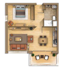 Floor plan rendering (Combloux Alpes) France on Behance Sims House Plans, Small House Floor Plans, Condo Floor Plans, Studio Apartment Layout, Apartment Design, Apartment Therapy, Apartment Floor Plans, Small Apartment Plans, Small House Design