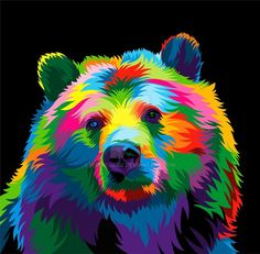 Multi Colored Bear 13 Colorful Animal Vector Illustration on Behance Colorful Animal Paintings, Bear Paintings, Colorful Animals, Pop Art, Art And Illustration, Arte Bob Marley, Ciel Pastel, Bear Art, Wildlife Art