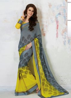 Elegance and honourable come together in this beautiful drape. Be an angel and create a smashing impact on everyone by wearing this grey georgette casual saree. The ethnic print work on the attire add...