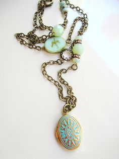 Aqua Patina Locket Necklace Brass Necklace by BlueArtichokeDesigns