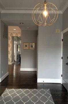 Benjamin Moore Smoke Embers /// Chevy Chase Residence - contemporary - entry - dc metro - Heather ODonovan Interior Design AND wallpaper Room Colors, House Colors, Paint Colors, Wall Colors, Design Your Home, House Design, Casa Park, Contemporary Hallway, Dark Wood Floors