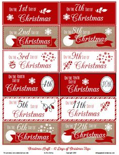 Free Printable Download -  12 Days of Christmas Gift Tags