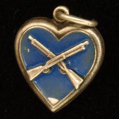 "Puffy Heart Charm Vintage Sterling Silver Enamel Crossed Infantry Rifles ""Delma"""