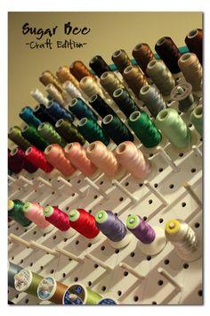 "Sugar Bee Crafts:  Thread Rack - tutorial  Peg board, 1/4"" dowels cut to 21/2"", wood glue."