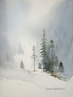 By Branislav Marković Watercolor Trees, Watercolor Landscape, Watercolor And Ink, Landscape Paintings, Watercolor Paintings, Watercolors, Watercolor Christmas Cards, Winter Scenery, Winter Trees