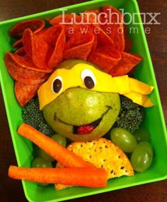 Ninja Turtle Lunch!!! (I might have to pack Kevin a lunch one day and do this. Haha!)