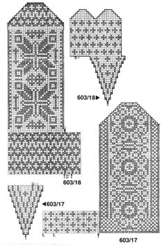Żakardowe ciepłe skarpety) - Knitting - Home Moms Knitted Mittens Pattern, Knit Mittens, Knitted Gloves, Knitting Socks, Hand Knitting, Knitting Charts, Knitting Stitches, Knitting Patterns, Motif Fair Isle