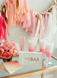 bubbly bar for a party! Love the tassels. Bubbly Bar, Champagne Bar, Party Deco, Spa Party, Fiestas Party, Party Fiesta, A Little Party, Shower Inspiration, Wedding Inspiration