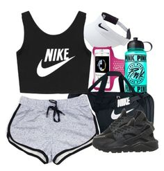 """Gym"" by lulu-foreva ❤ liked on Polyvore featuring NIKE, Victoria's Secret PINK, women's clothing, women's fashion, women, female, woman, misses and juniors"