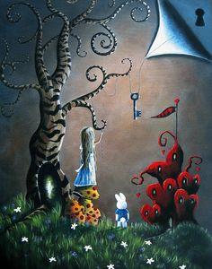 Alice In Wonderland art print by ERBACK fantasy fairy tale key queen of hearts castle whimsy tree White Rabbit. Lewis Carroll, Fantasy Kunst, Fantasy Art, Fantasy Paintings, Alice In Wonderland Original, Wonderland Alice, Alice Madness, Fairytale Art, Adventures In Wonderland