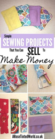 Sewing Projects That You Can Sell - make money from what you sew with these ideas for brilliant & sellable DIY items. Links to Full step by step tutorials for each. Christmas Sewing Projects, Sewing Projects For Beginners, Sewing Tutorials, Sewing Patterns, Christmas Fabric, Easy Kids Sewing Projects, Easy Projects, Diy Fashion Projects, Christmas Diy