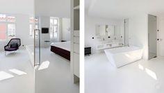 Een witte gietvloer zowel bij de badkamer als ook de slaapkamer geeft licht en frisheid, voor het ultieme lentegevoel.
