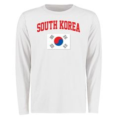 South Korea Flag Long Sleeve T-Shirt - White